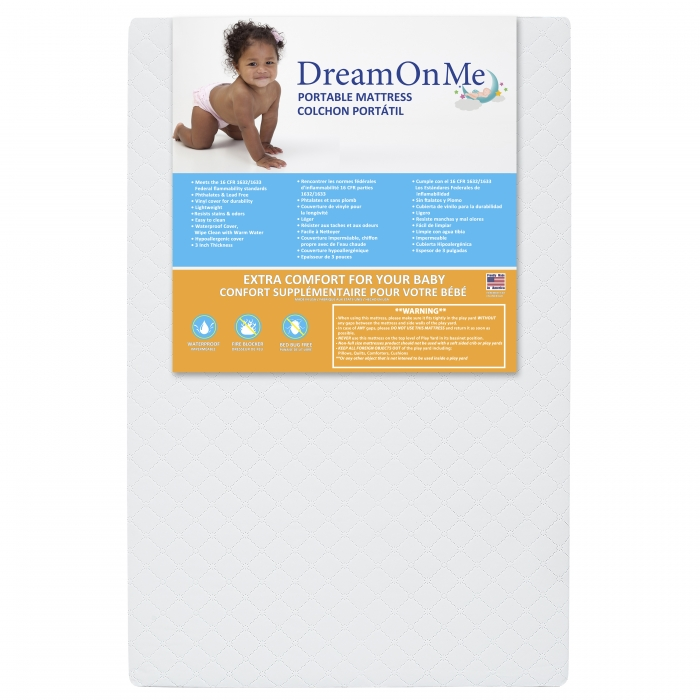 newest 17ae7 ac7bd 3″ Portable Crib Mattress | Dream On Me