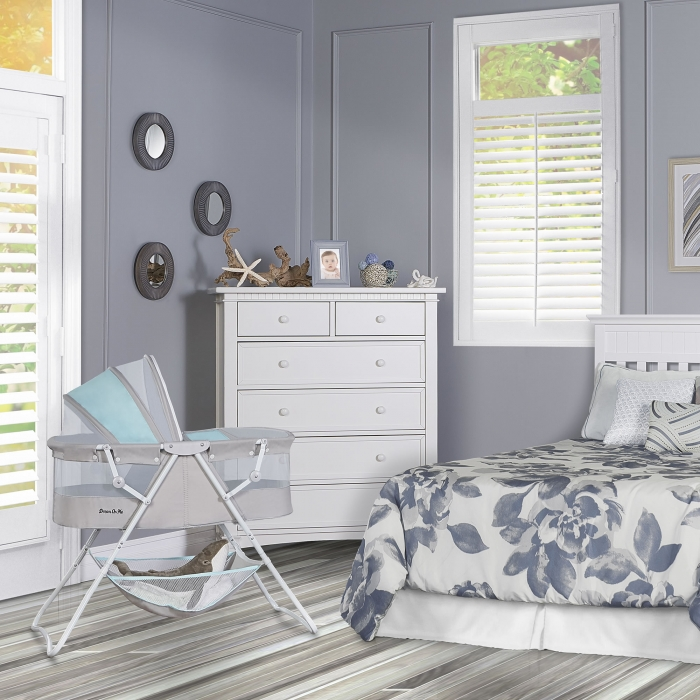 Dream On Me Karley Bassinet Blue//Grey Blue and Grey Free Shipping