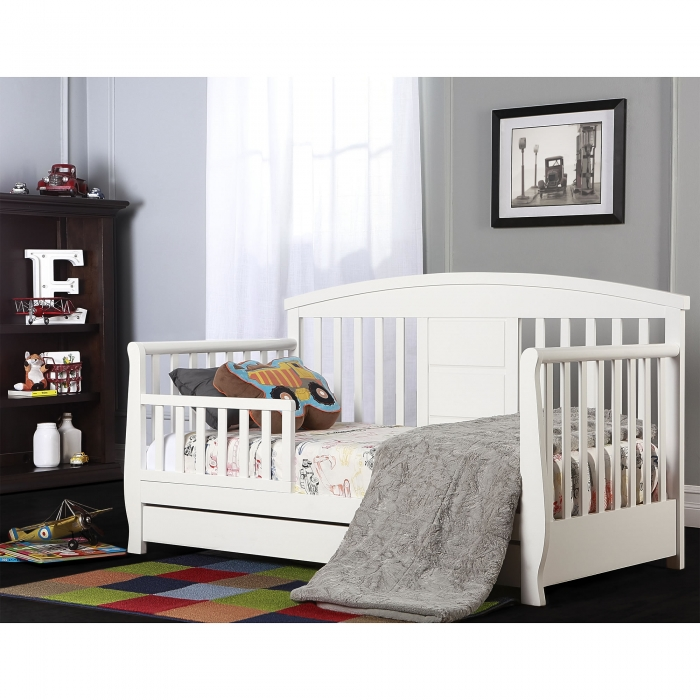 Toddler Bed With Drawers Donco Kids White Sleigh Bed With