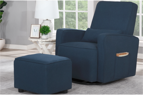 Holland Upholstered Swivel Glider & Ottoman